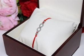 Браслет красная нить с подвеской в виде бесконечности (Серебро)