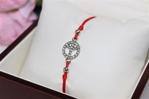 Браслет красная нить с подвеской  (Серебро)