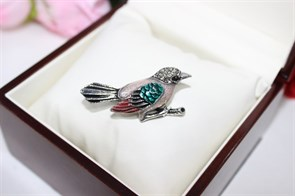 """Брошь из Дубайского серебра """"Птичка невеличка """""""