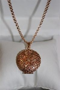 """Комплект цепочки с кулоном """"Ажур"""" из дубайского золота"""