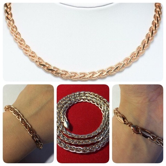 """Набор цепь+браслет из Дубайского золота """"Косичка"""" 0,8 см - фото 18028"""