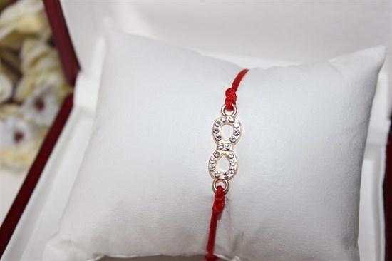 Браслет красная нить с подвеской(золото) в виде бесконечности - фото 27763