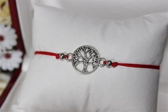 Браслет красная нить с подвеской (серебро) в виде ветвей дерева - фото 27911