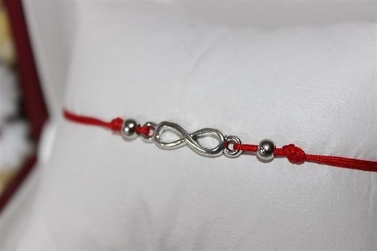 Браслет красная нить с подвеской(серебро) в виде бесконечности - фото 27925