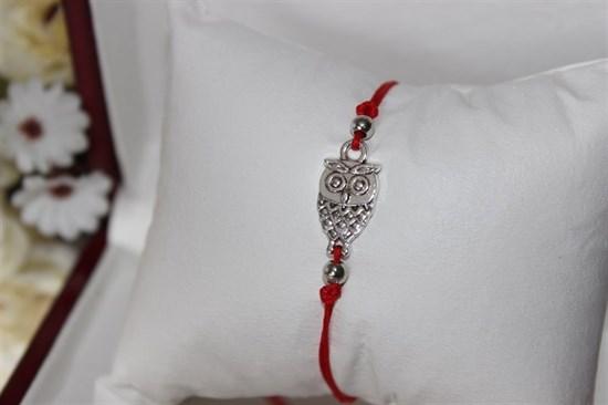 Браслет красная нить с подвеской (серебро) в виде совы - фото 27934