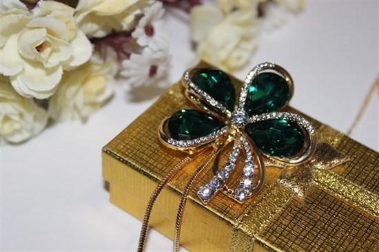 """Красивое колье из дубайского золота """"Изумрудный цветок"""" - фото 28063"""