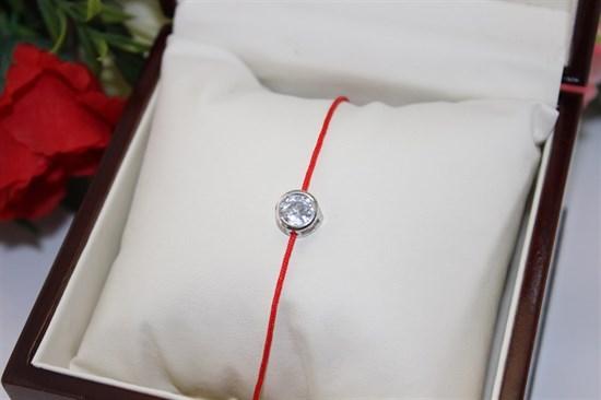 Браслет красная нить с подвеской в виде круга  (Серебро) - фото 51316