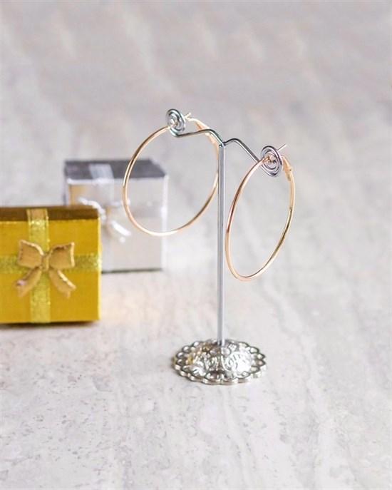 "Серьги колечки из дубайского золота диаметр 4"" - фото 6992"