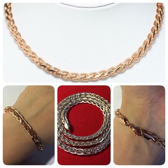 """Набор цепь+браслет из Дубайского Золота """"Косичка"""" 0,6 см - фото 7243"""