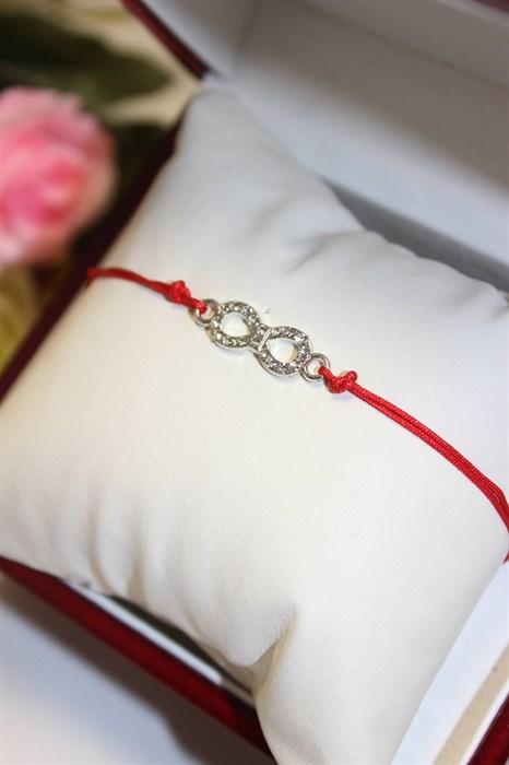 Красная нить с подвеской в виде бесконечности (А11) - фото 79119