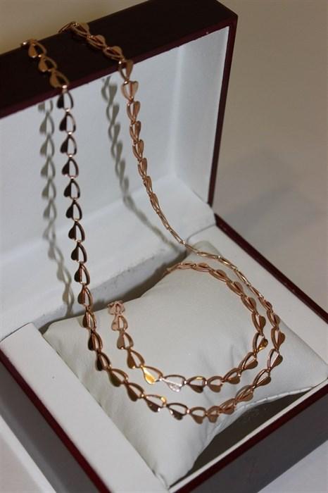 """Набор цепь+браслет из Дубайского золота """"Love"""" - фото 9702"""