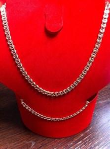 """Набор цепь+браслет из Дубайского золота """"Афина"""" 0,8 см"""