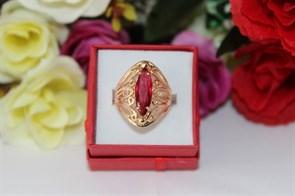 """Кольцо из Дубайского золота  """" Рубиновый дар"""""""