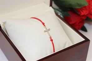 Браслет красная нить с подвеской в виде креста