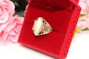 """Кольцо  из Дубайского золота  """"Зеркало души """""""