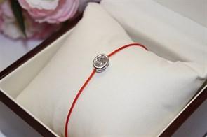 Браслет красная нить с подвеской в виде овала   (Серебро)