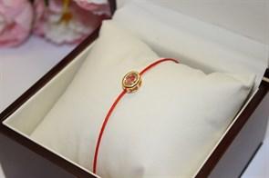 Браслет красная нить с подвеской в виде овала   (Золото)