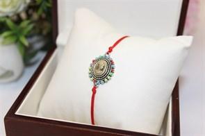 Браслет красная нить с подвеской  в виде портрета (серебро)