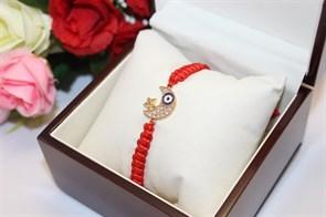 Браслет красная нить с подвеской в виде полумесяца (Золото)