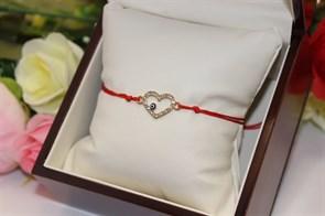 Браслет красная нить с подвеской в виде сердца (Золото)