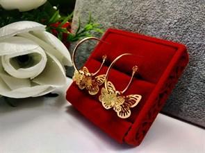"""Серьги кольца из Дубайского золота """"Легкость бабочек"""""""