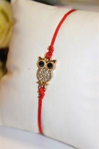 Браслет красная нить с подвеской в виде совы (золото)