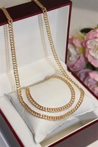Набор (цепочка двойная,браслет) из дубайского золота 0,5см