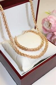 """Набор цепь+браслет из Дубайского Золота """"Косичка"""" 0,6 см"""