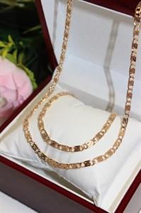 """Набор цепь+браслет из Дубайского золота """"Сплетения души"""""""