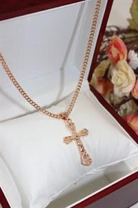 """Комплект цепочки с крестиком из дубайского золота """"Вера"""""""