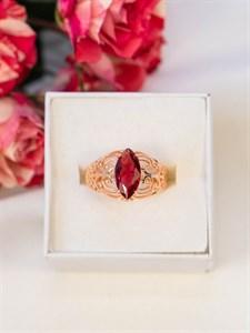 """Кольцо из дубайского золота """"Рубин в закате"""""""