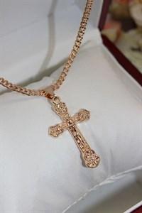 """Крестик из дубайского золота """"Вера"""""""